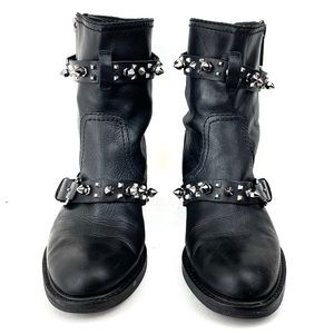 SAM EDELMAN Spiked Studded Moto Boots Size 6.5